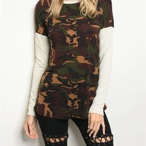 Tops - The Camouflage Long Sleeved T-shirt.